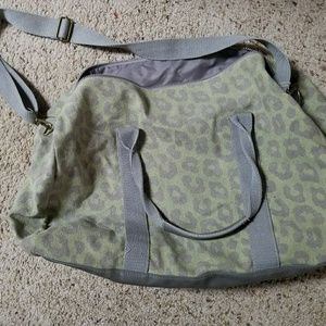 Large green and grey leopard print weekend bag